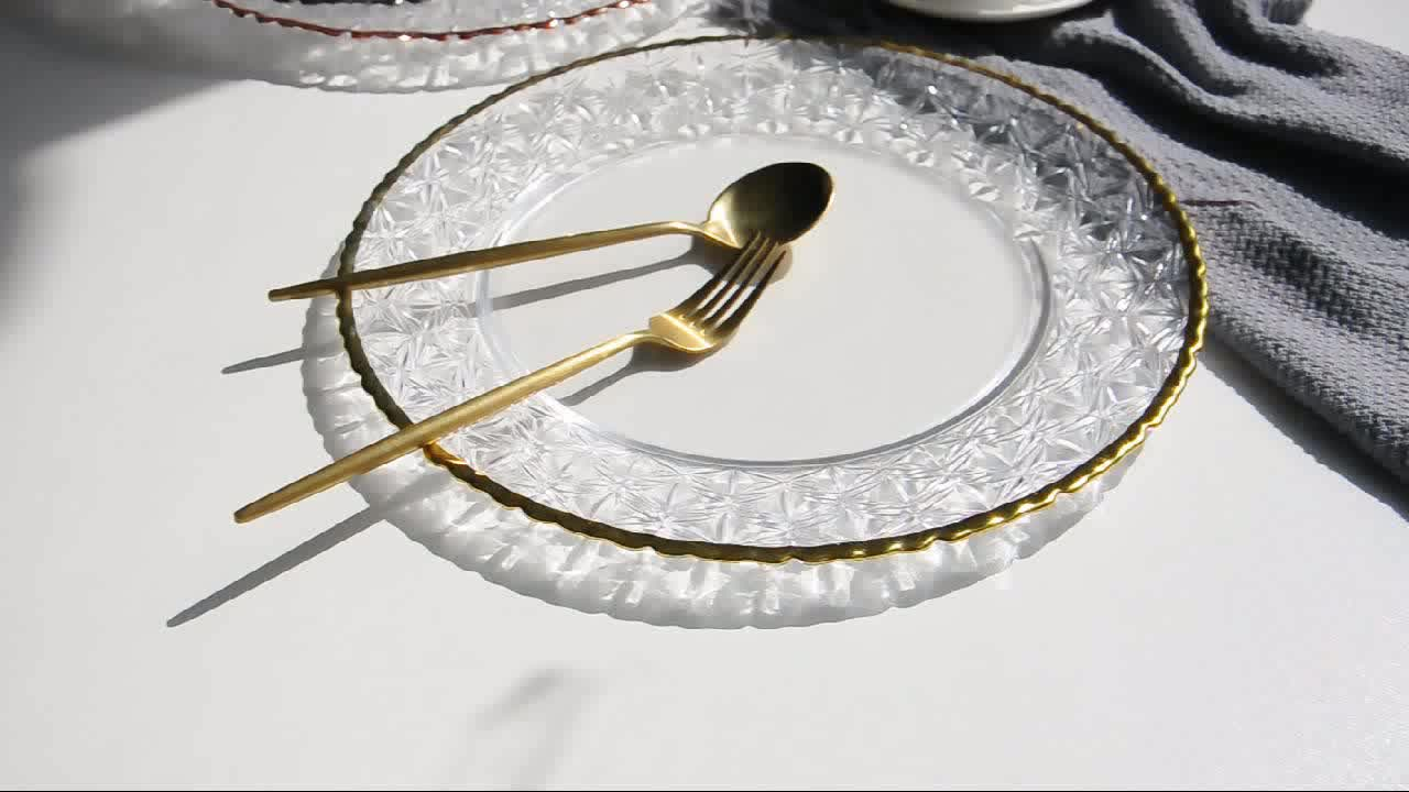 Weddings dessert wholesale clear decorative round under gold glass plates  for decoupage