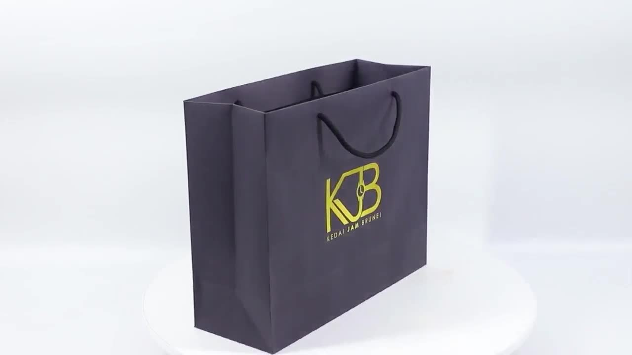 Eco Black Card Paper Bag With Gold Hot Stamping Printing For Jewelry Bags Packaging