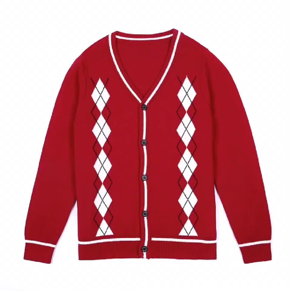 Neue Ankunfts-Mode-weiche Kinder-rote lange Hülsen-Strickjacke-Strickjacken mit Knopf
