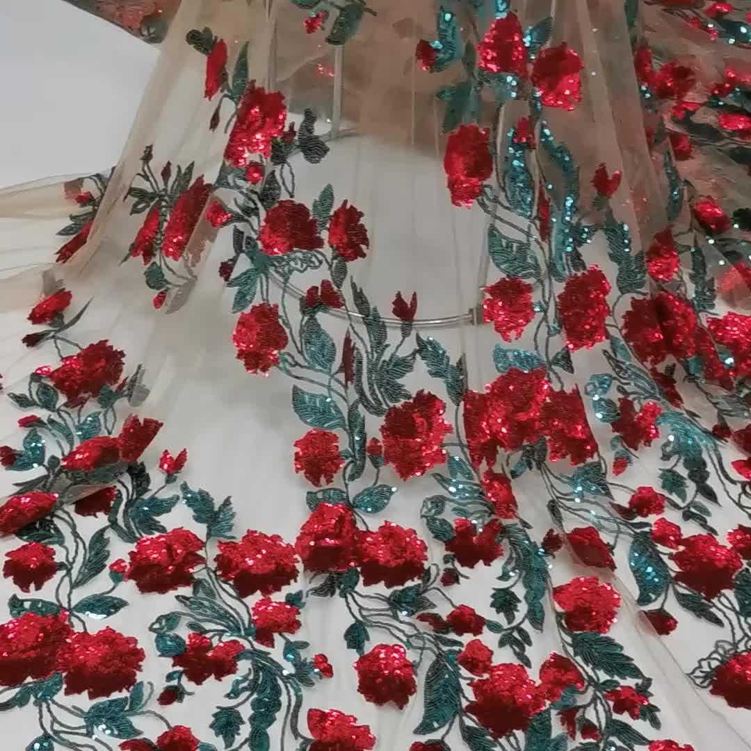 Élégant 2020 broderie africaine paillettes fleur dentelle française tissu