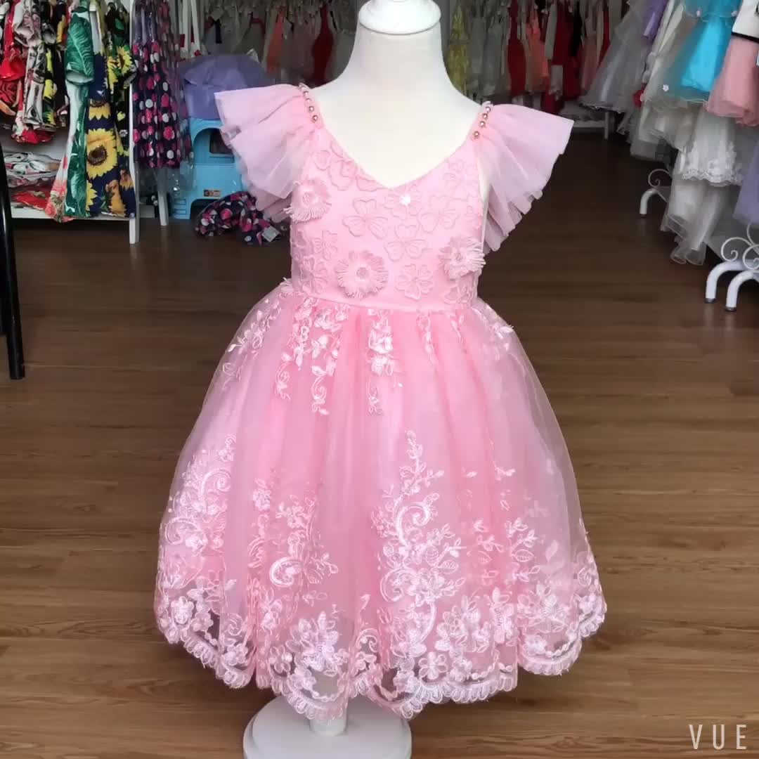 Hot selling fashion design new model girl dress hand made embroidery baby girl's kids dresses