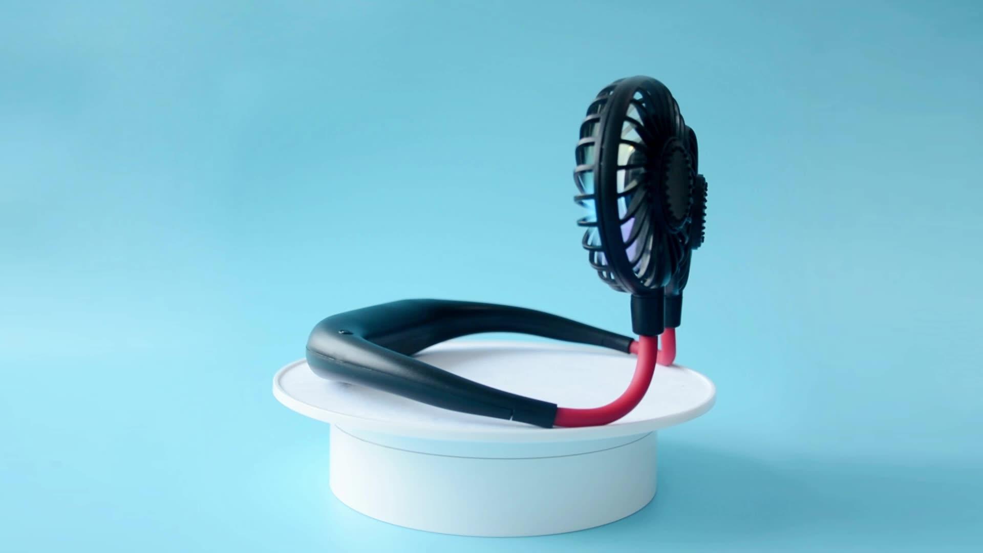 Açık spor moda katlanır asılı boyun LED şarj USB taşınabilir Mini Fan