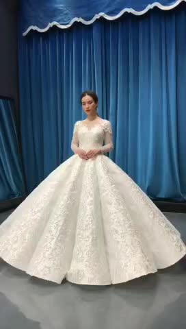 Jancember Rsm66812 Wedding Gown Cheap Wedding Gowns For Bride Long Sleeves 2020 Wedding Dress Ball Gown