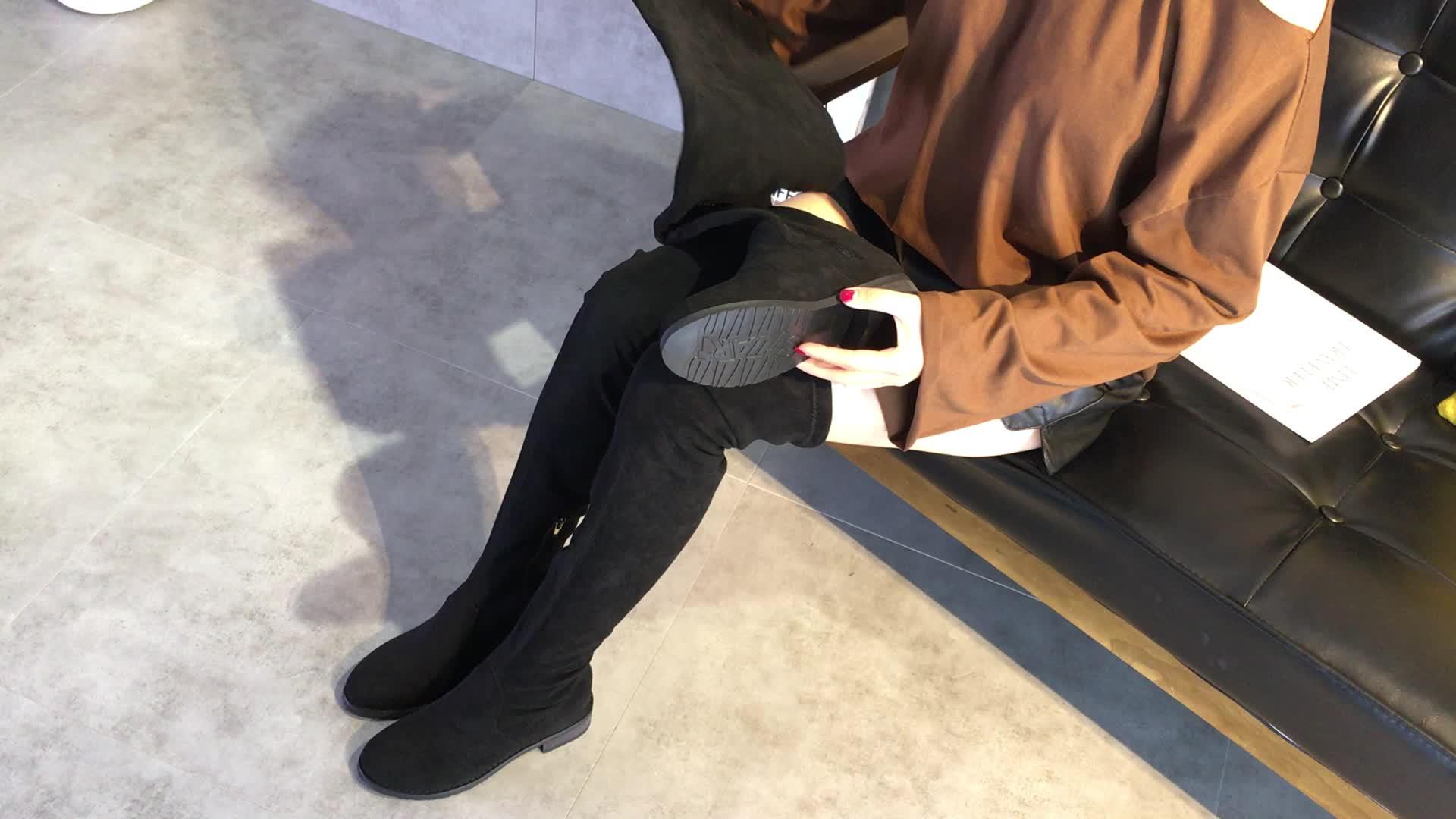 SW5050靴子女2018秋冬新款欧美弹力过膝靴内增高显瘦长筒靴女皮靴