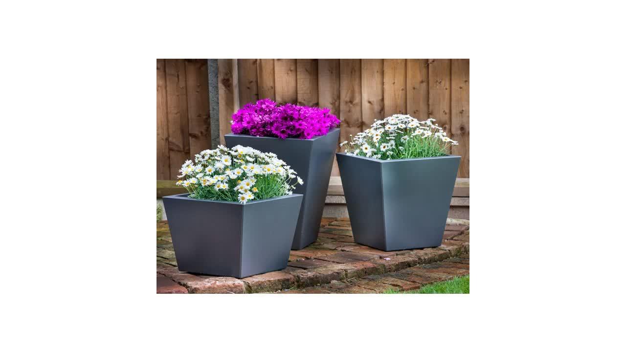 Angepasst hohe qualität gebürstet edelstahl quadratischen blumentopf edelstahl lange blumentopf metall pflanzer