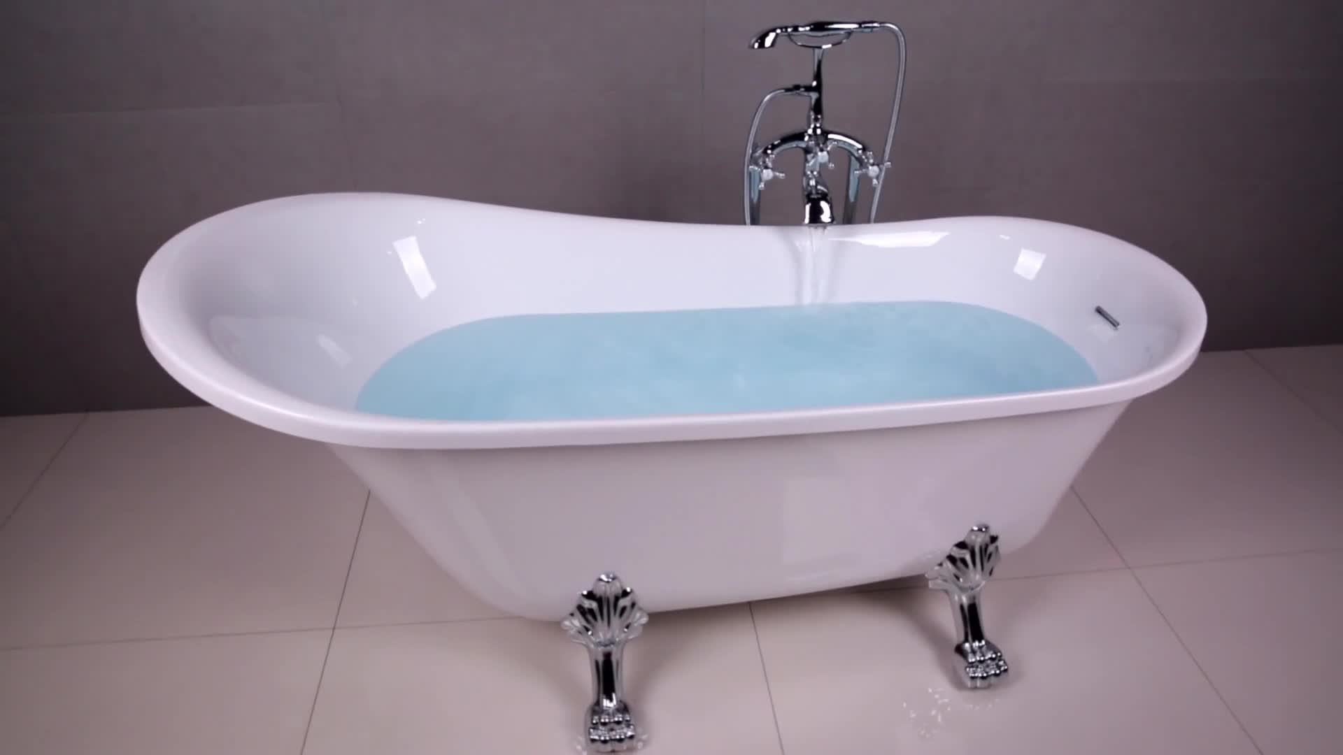 Classical Bathroom Free Standing Acrylic Clawfoot Bath Tub With ...