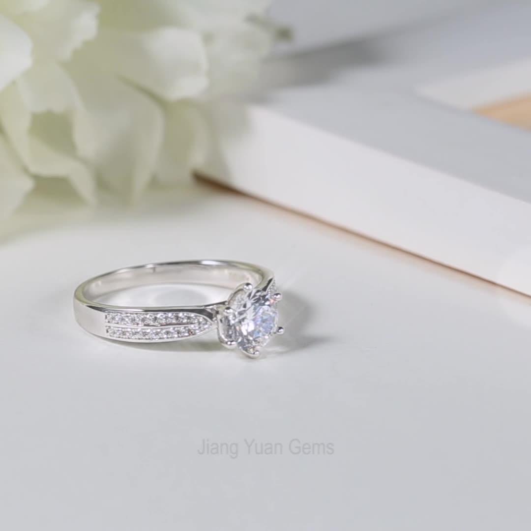 Plata esterlina 925 1ct 6,5mm anillos moissanite