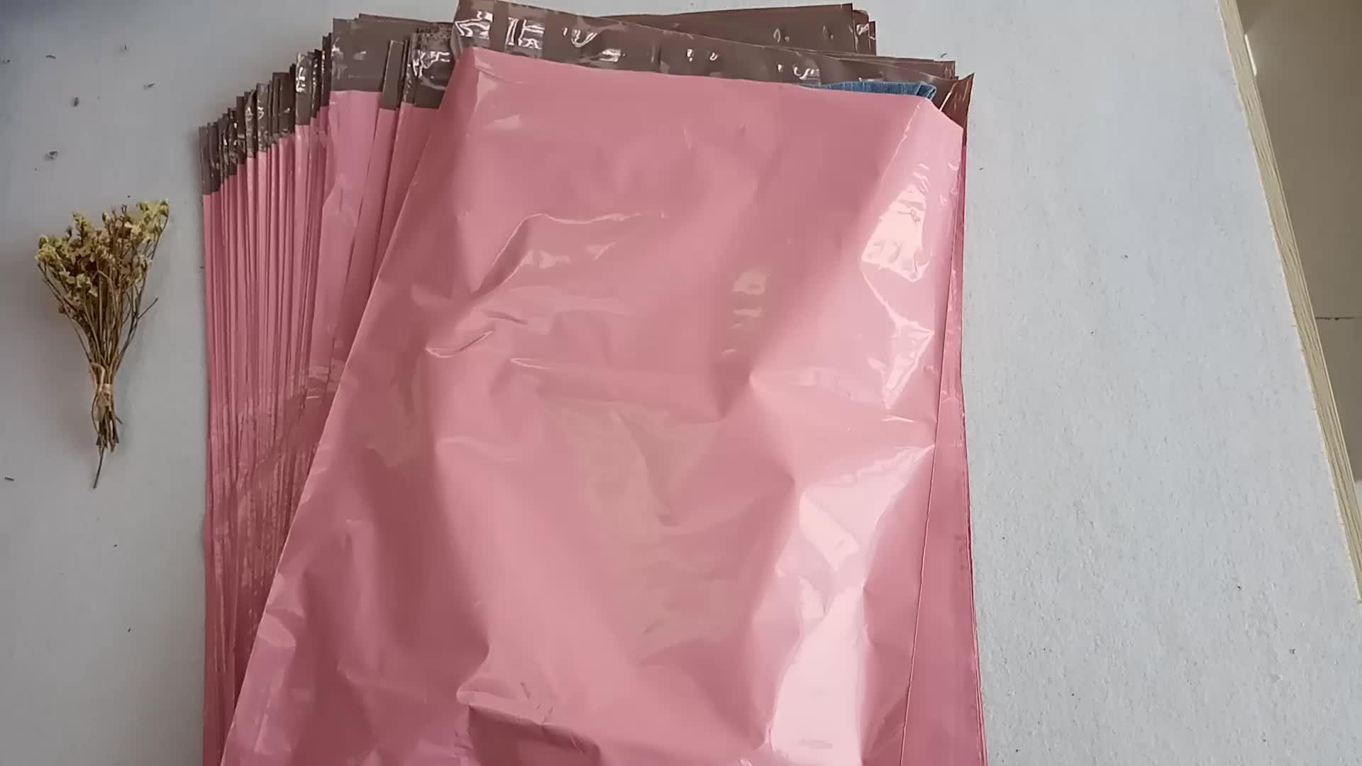 Atacado Auto Adesivas Poli Mailer Costume Impresso Rosa Roupas Reciclar Saco do Correio