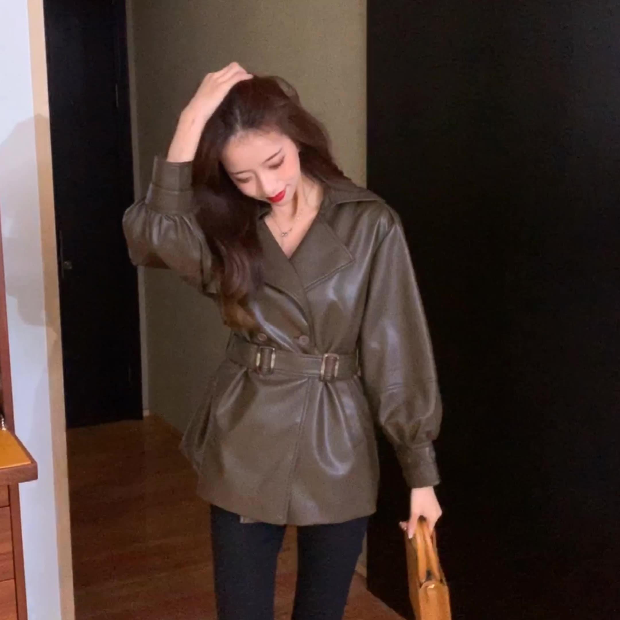 秋冬装2020年新款时尚中长款收腰皮衣外套女士夹棉韩版洋气皮夹克