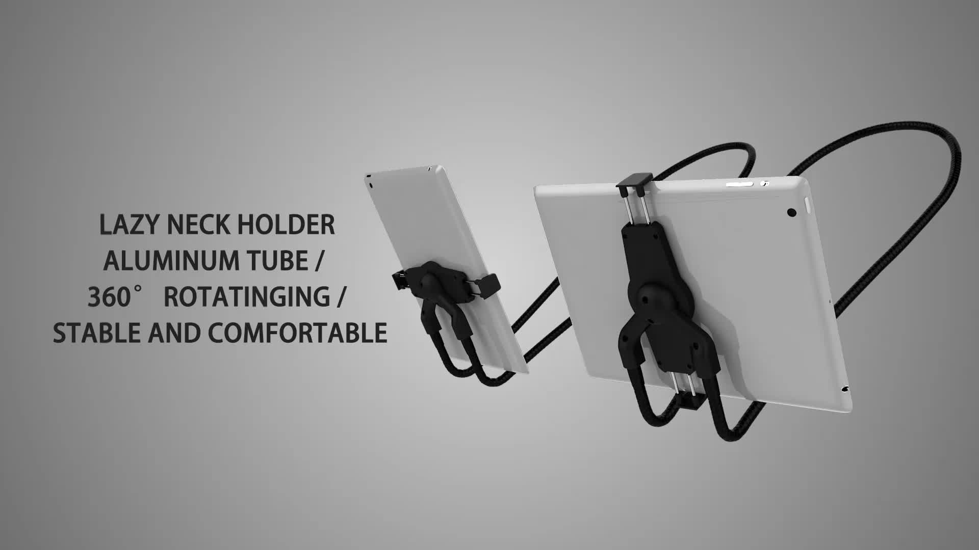 High quality 1.2m metal lazy neck phone holder for both mobile and PC tablet holder neck