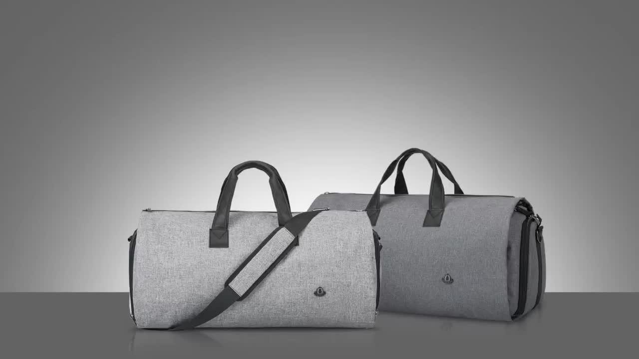 Grau Duffel Faltbare anzug tragen auf Kleidersack mit Schuh Beutel