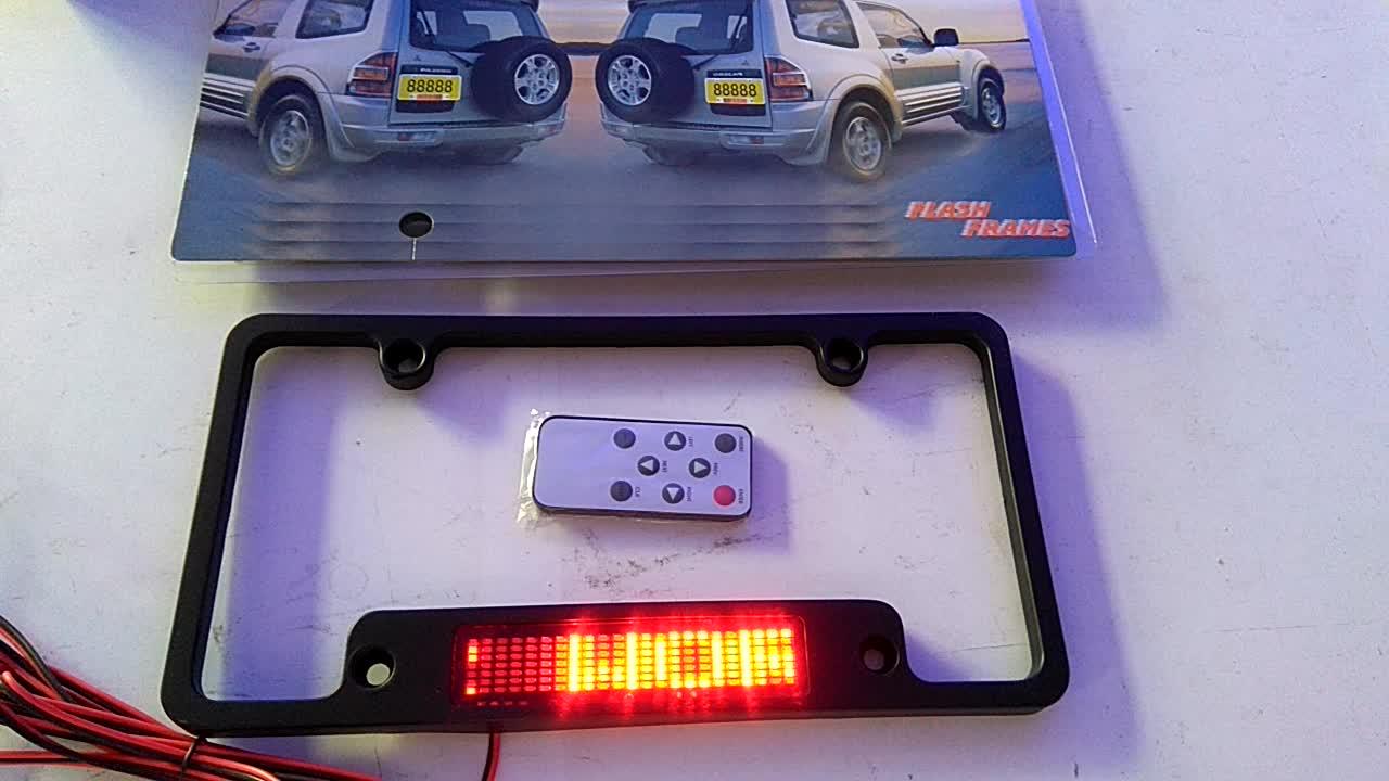 12V 7X23pixel remote control red USA led car license plate,English language