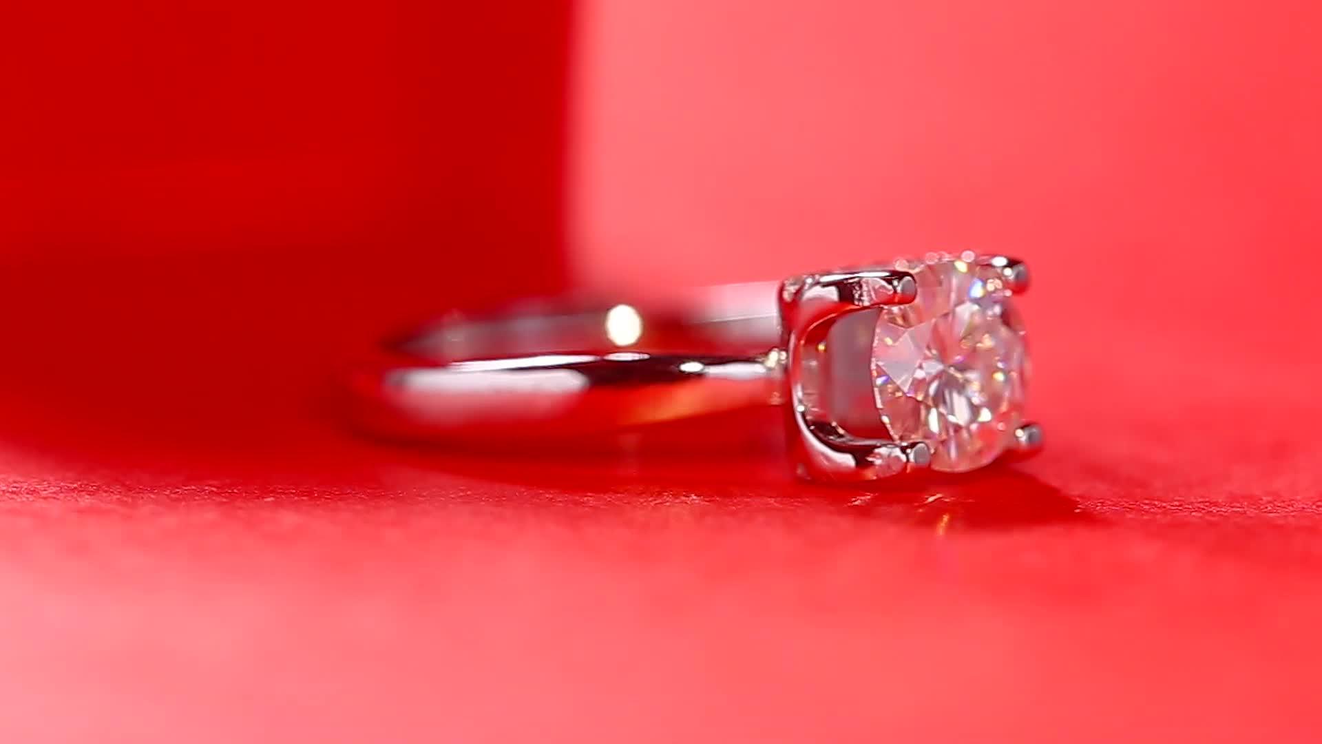 3 Carat Quality Legit Pure Silver Marquise Women Moissanite Engagement Ring
