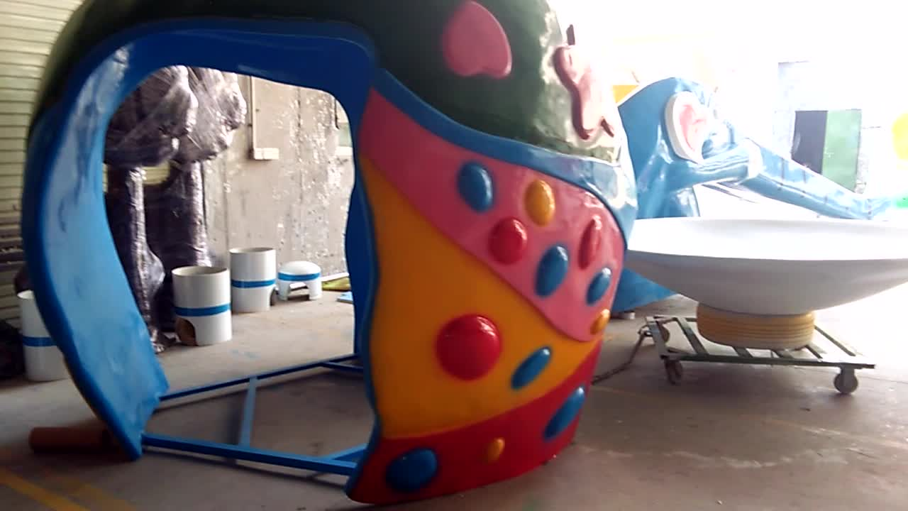Funny fiber glass water toys equipment cartoon water spring for sale