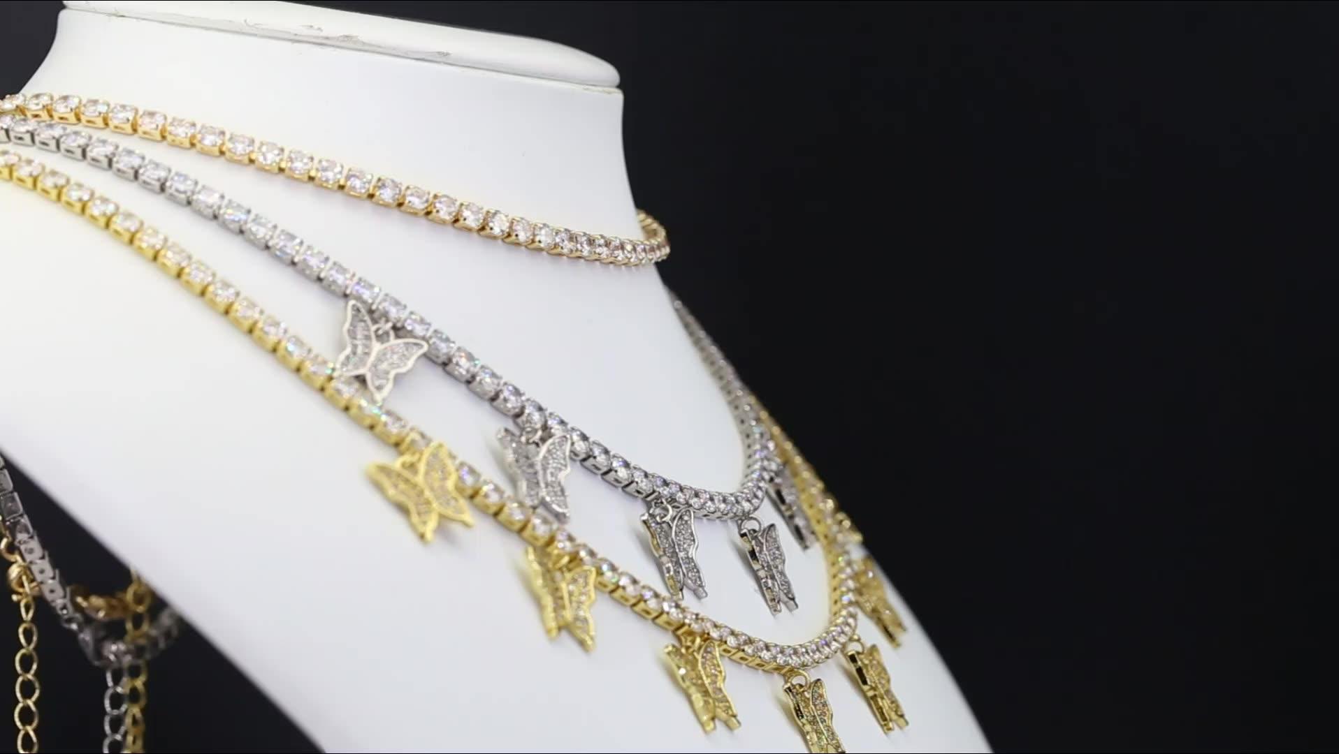 Romântico women18k banhado a ouro colar de jóias de borboleta cubic colar gargantilha