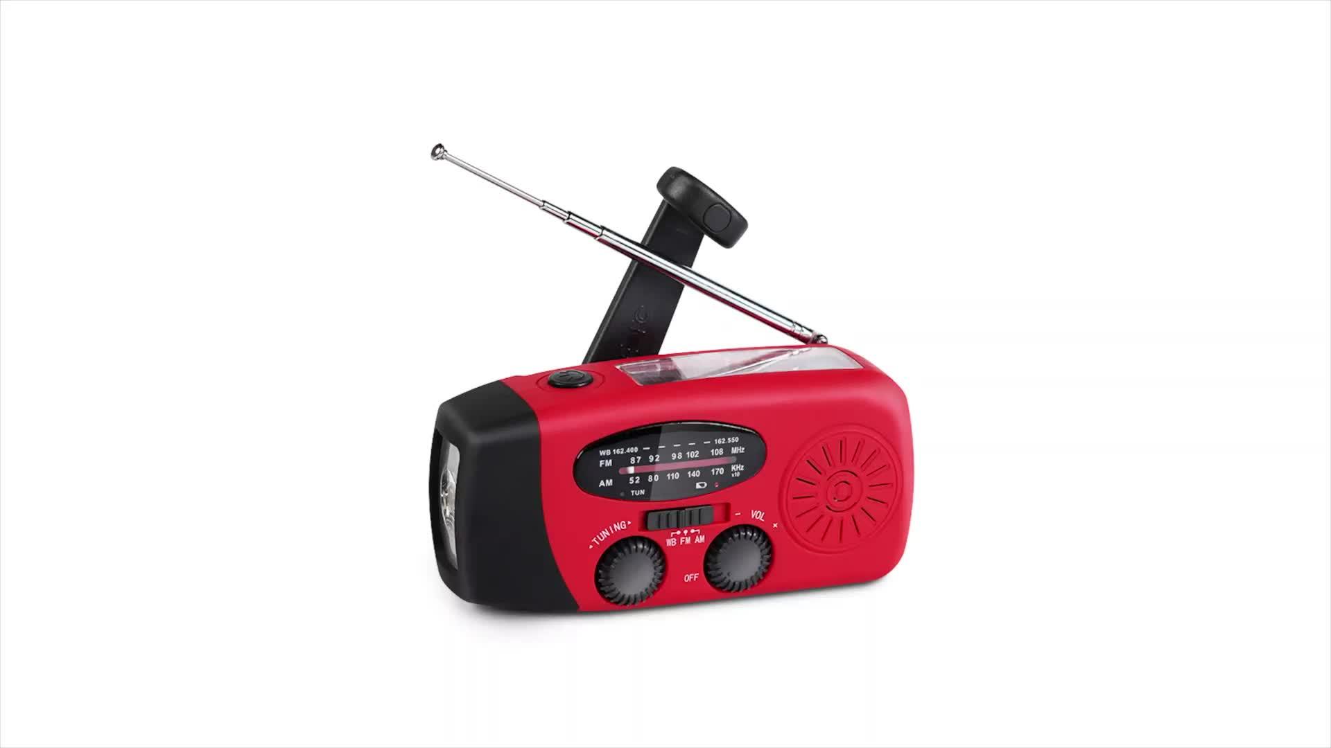 Dínamo noaa weather emergency solar portátil am fm rádio de bolso mini