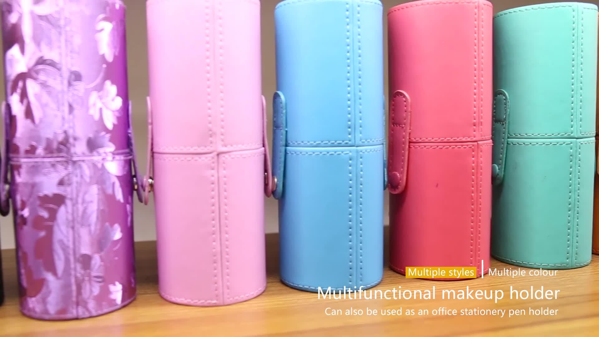 Empty Cylinder Pvc Pu Leather Silicone Pen Holder Custom Travel Portable Cosmetic Brush Storage Box Bag Makeup Brush Set Holder