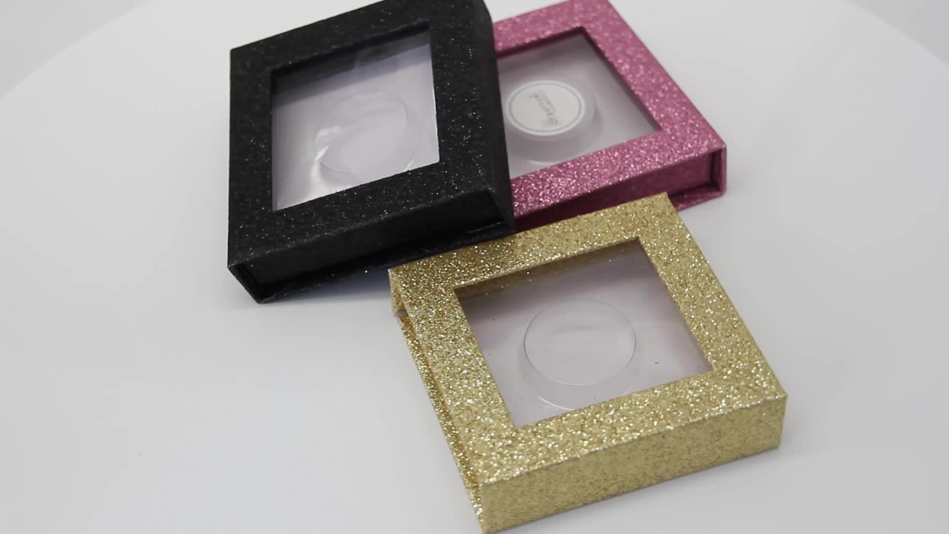 Prix de gros faux cils boîte d'emballage Logo personnalisé étui carré vide