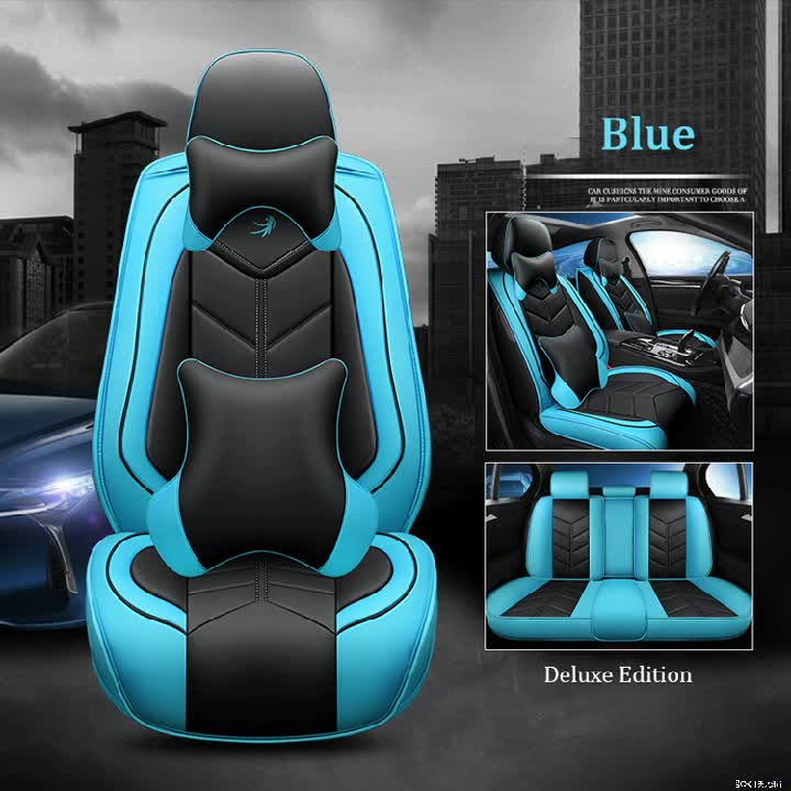 Full Coverage Eco-Leather Universal Waterproof PU Leather Car Seat Covers Luxury Auto Seat Covers With Pillows