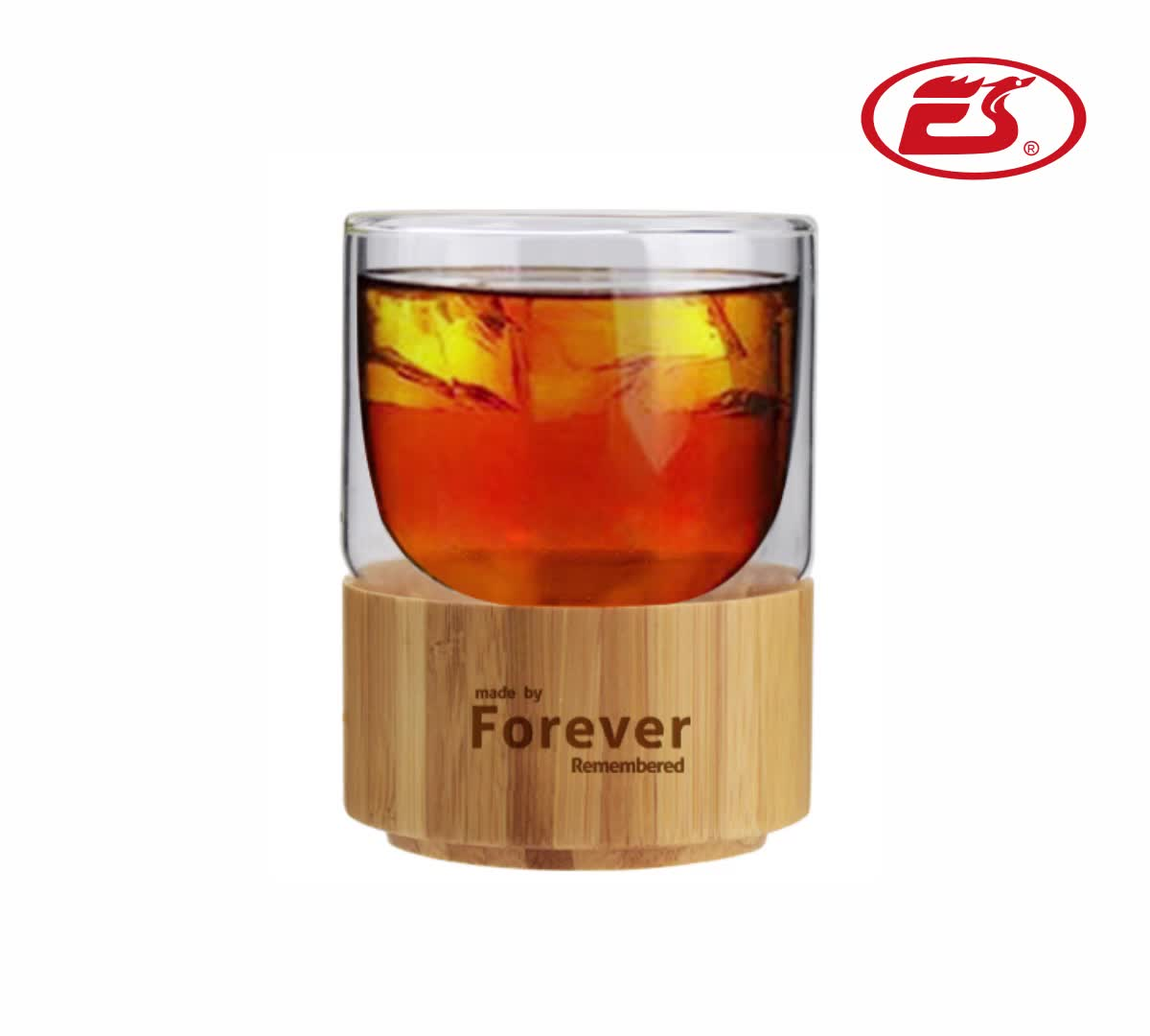 Wholesale promotional custom logo glass water cup ceramic coffee mug with bamboo bottom