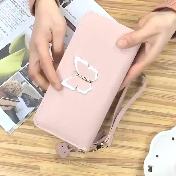 PU Leather Slim Wallet for Women RFID blocking card holder coin holder Girl's Small Wallets Lady Butterfly Purse long wallet