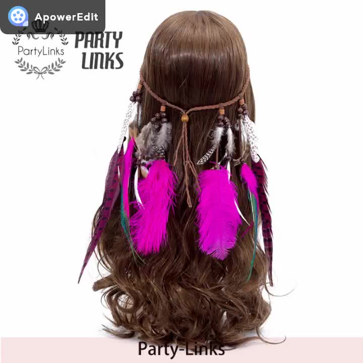 Feather Headwear For Women Hiphop Bohemia Hair Bands Tribal Gypsy Accessories