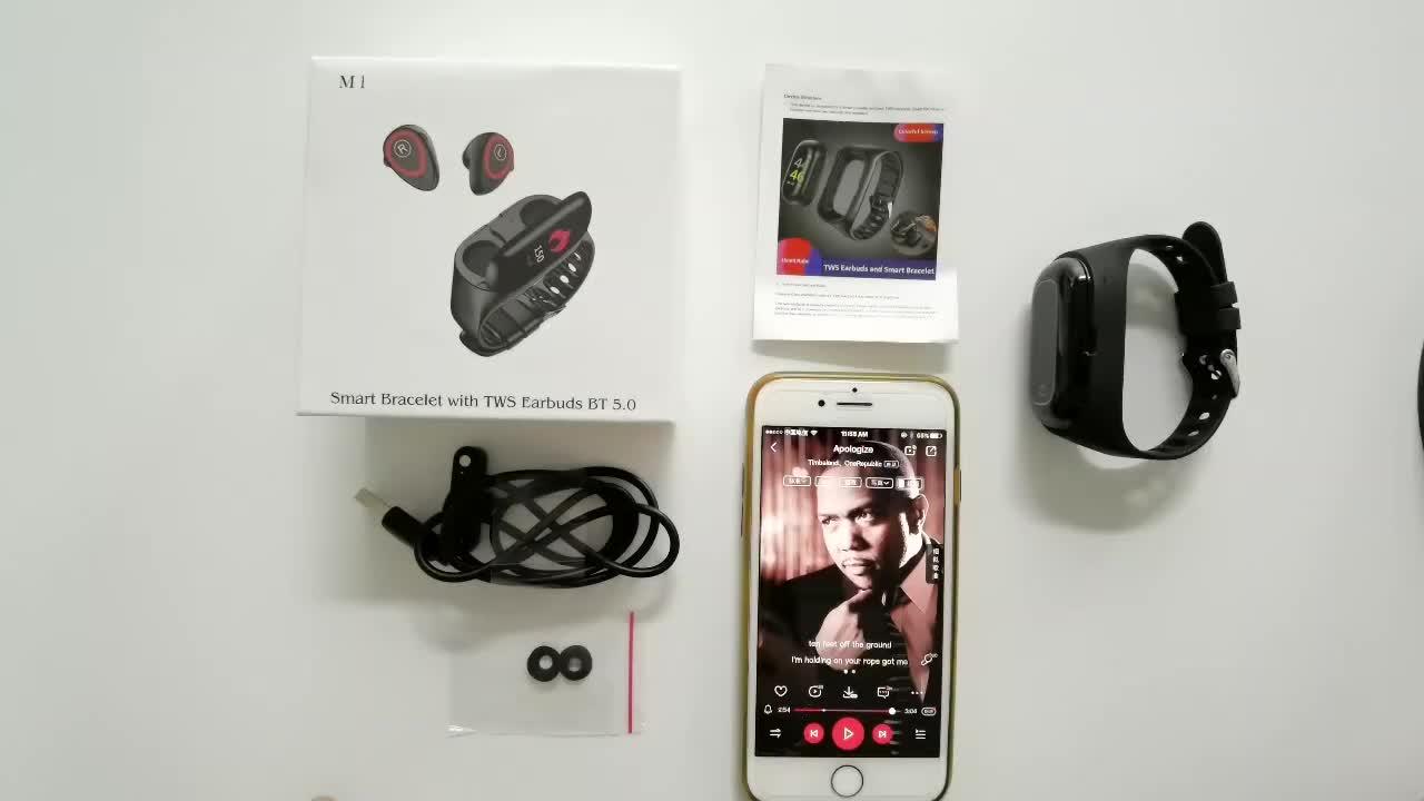 Le plus récent moniteur de fréquence cardiaque M1 montre intelligente avec bluetooth écouteur Fitness Tracker tension artérielle Smartwatch pour IOS Android