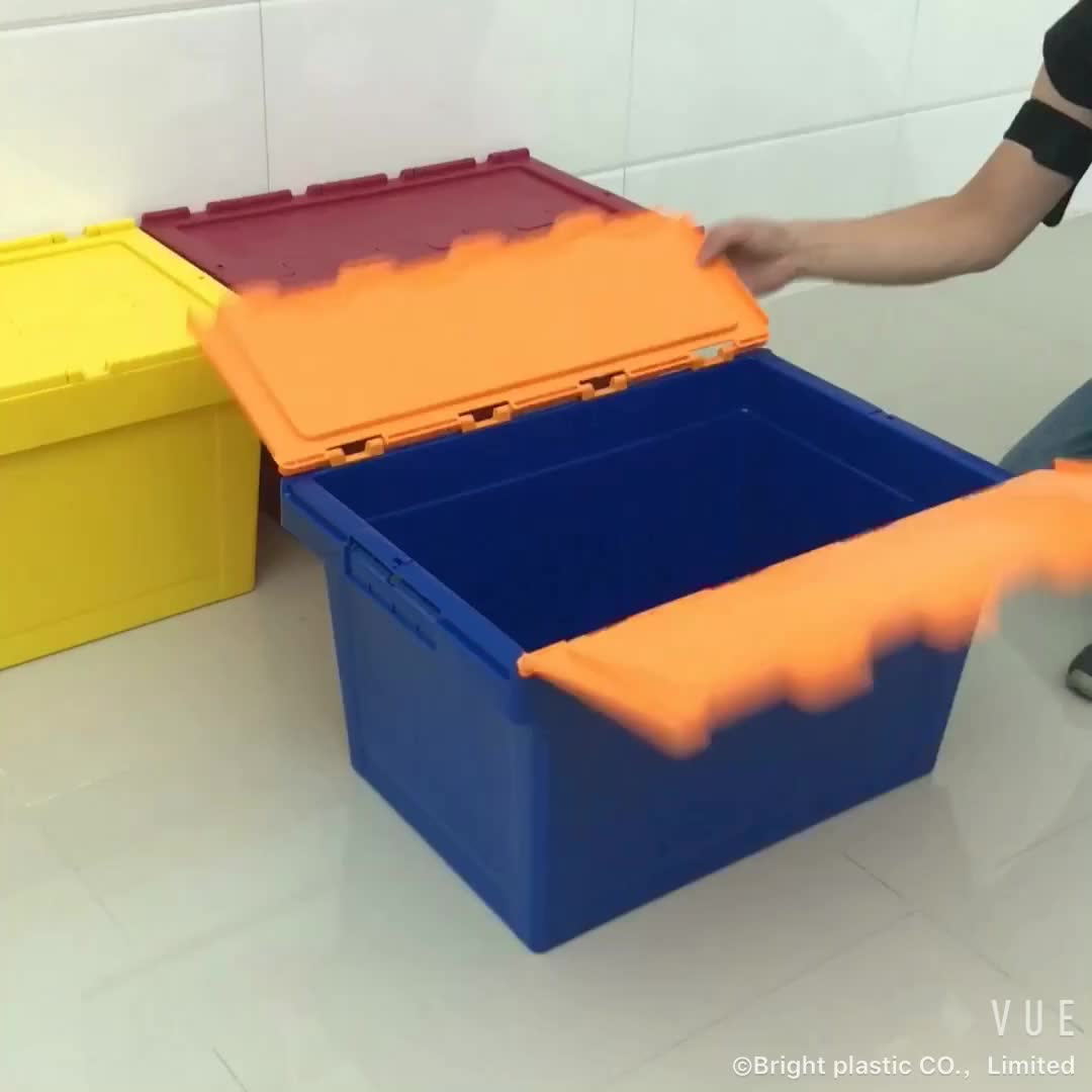 60L Hot Sale Stackable Storage Box Plastic Crate with Lid