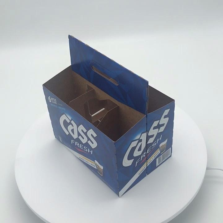 Desain kustom 3/4/6 Pack Botol Pembawa Kotak Bir Kertas Dengan Logo Anda