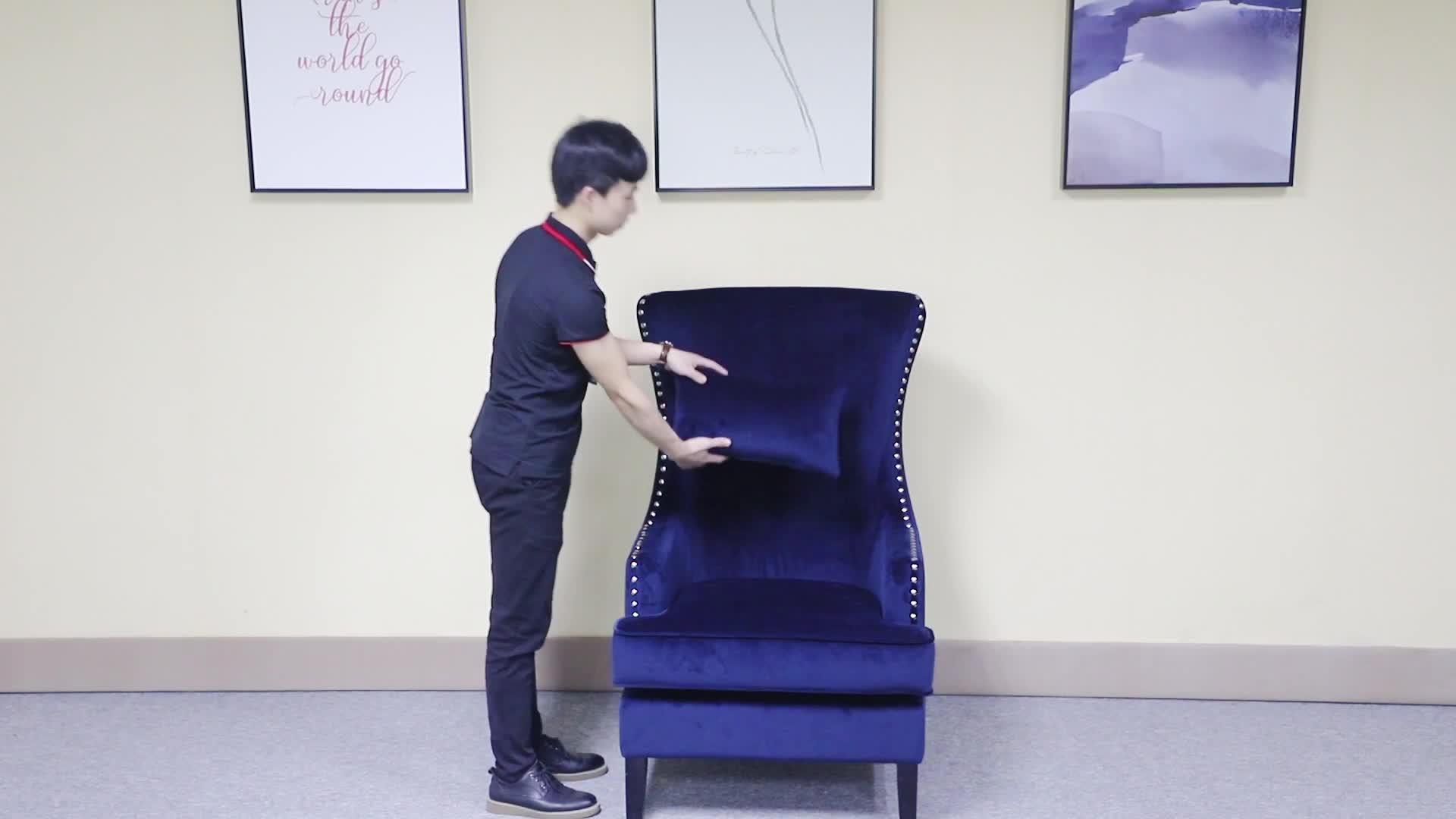 16 years factory rubber wood leg modern high back grey velvet living room king throne chairs