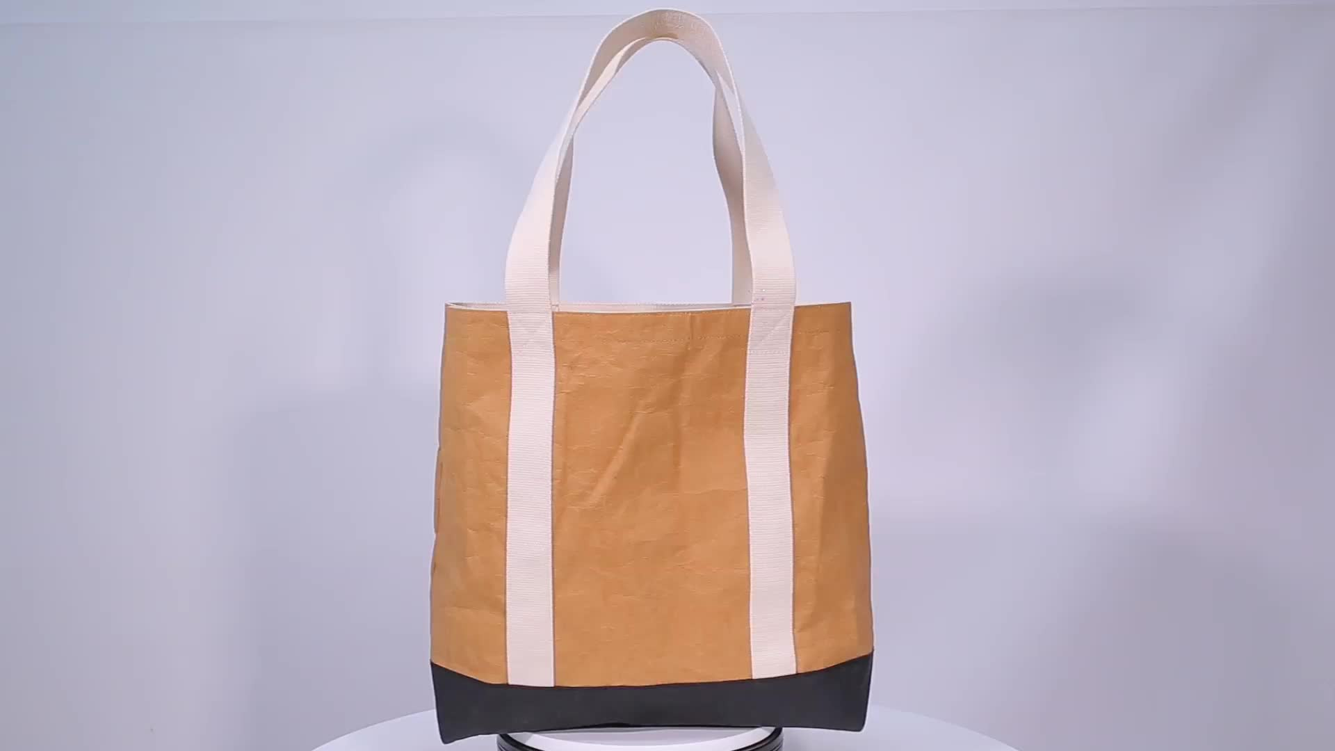 Custom Reusable Washable kraft Paper Tote Bags With Webbing Straps