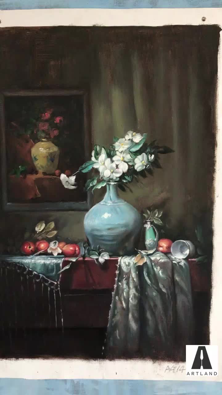Hand painted beautiful fruits and flower vase still life oil paintings on canvas
