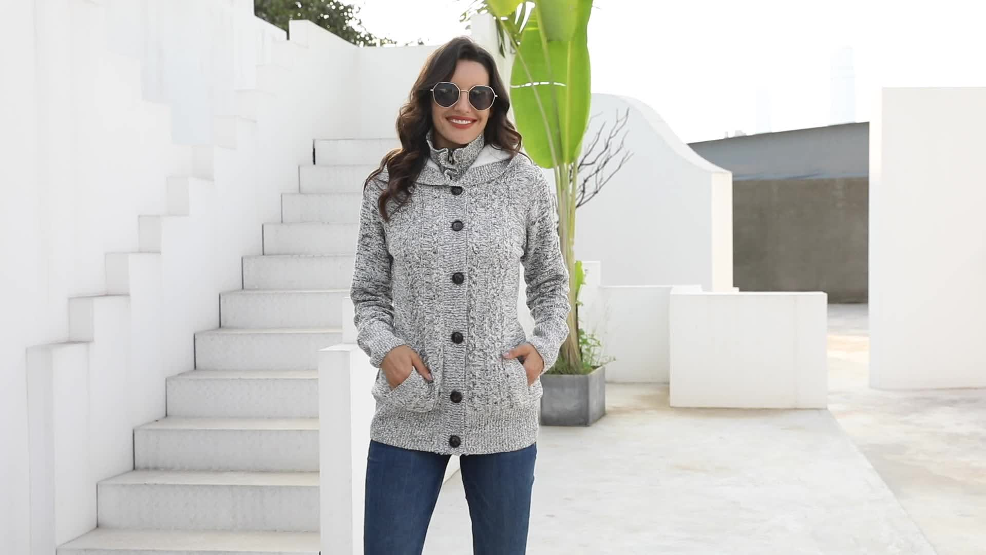 Long Sleeve Button-up Hooded Cardigans Warm Women Sweaters