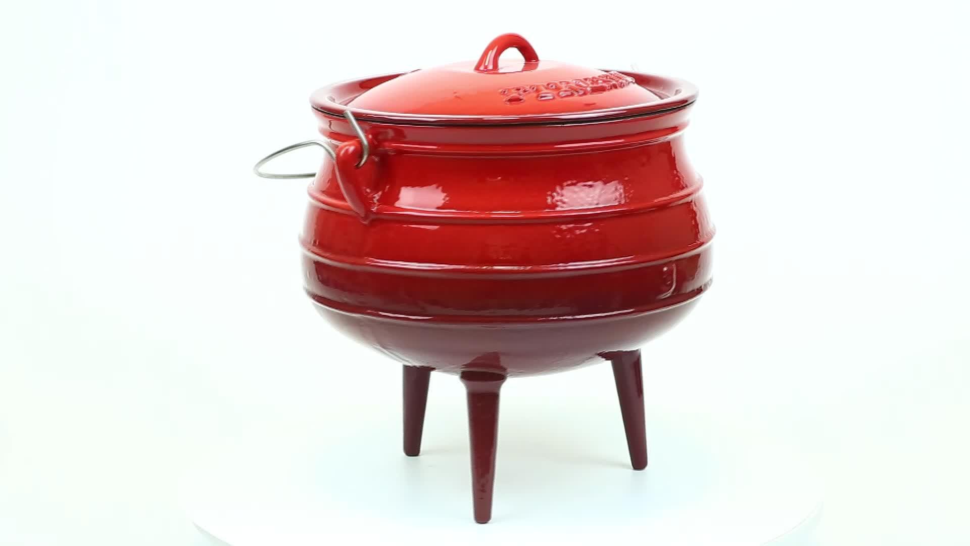 लाल तामचीनी कच्चा लोहा Potjie पॉट 3 के साथ पैर कच्चा लोहा देग़