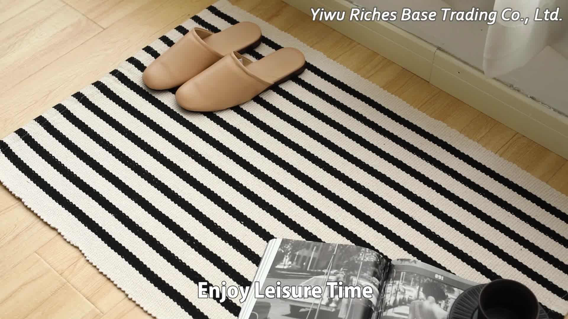 Algodão tecido lavável corredor tapete e do tapete preto e branco listrado fazenda front door mats interior ao ar livre