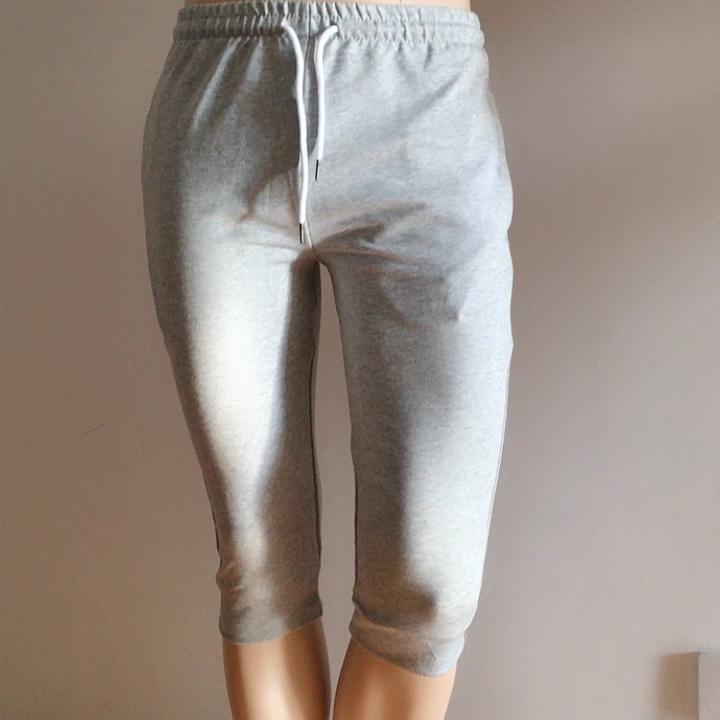 Men's Cotton Casual shorts 3/4 Jogger Capri Pants Breathable Below Knee Short Pants with Pockets