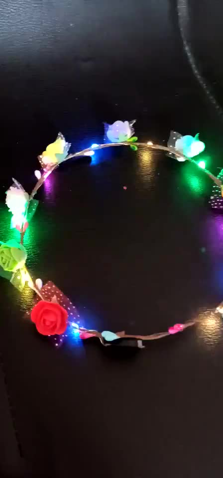 Party Glowing Wreath Halloween Crown Flower Headband Women Girls LED Light Up Hair Wreath Hairband Garlands Gift