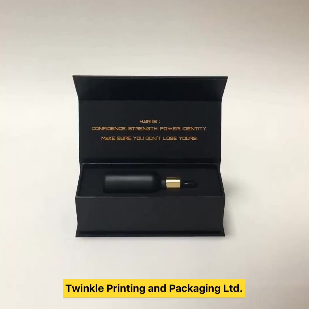 OEM customize hard cardboard matte black magnetic close book shape small paper packaging gift box with cut out EVA/ Foam insert