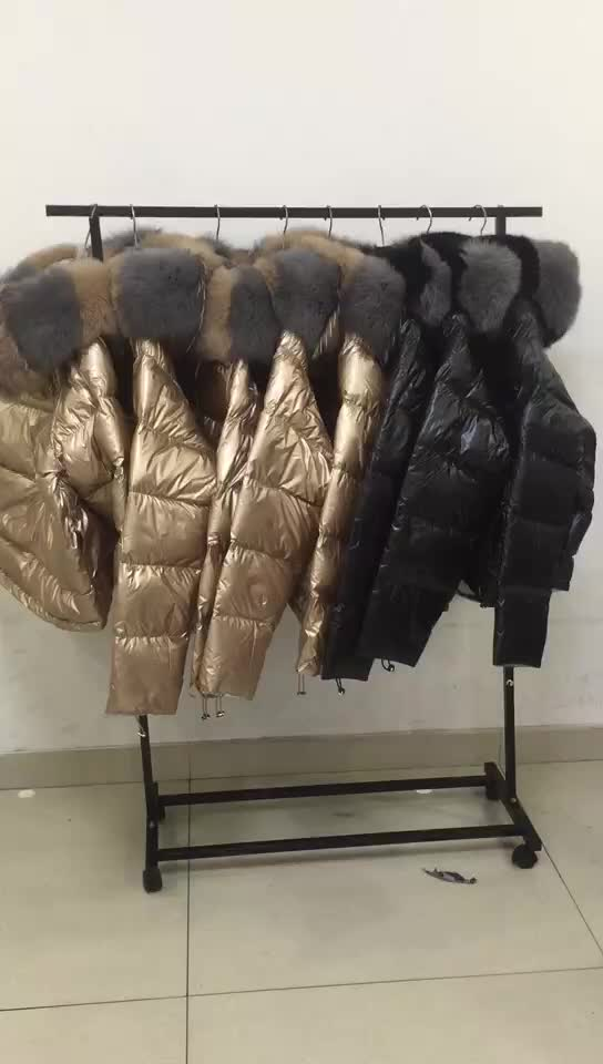 2018 Newest Women Metal Shiny Reversible Double Face Wearing 90% White Duck Down Feather Padding Fox Fur Down Jackets coat