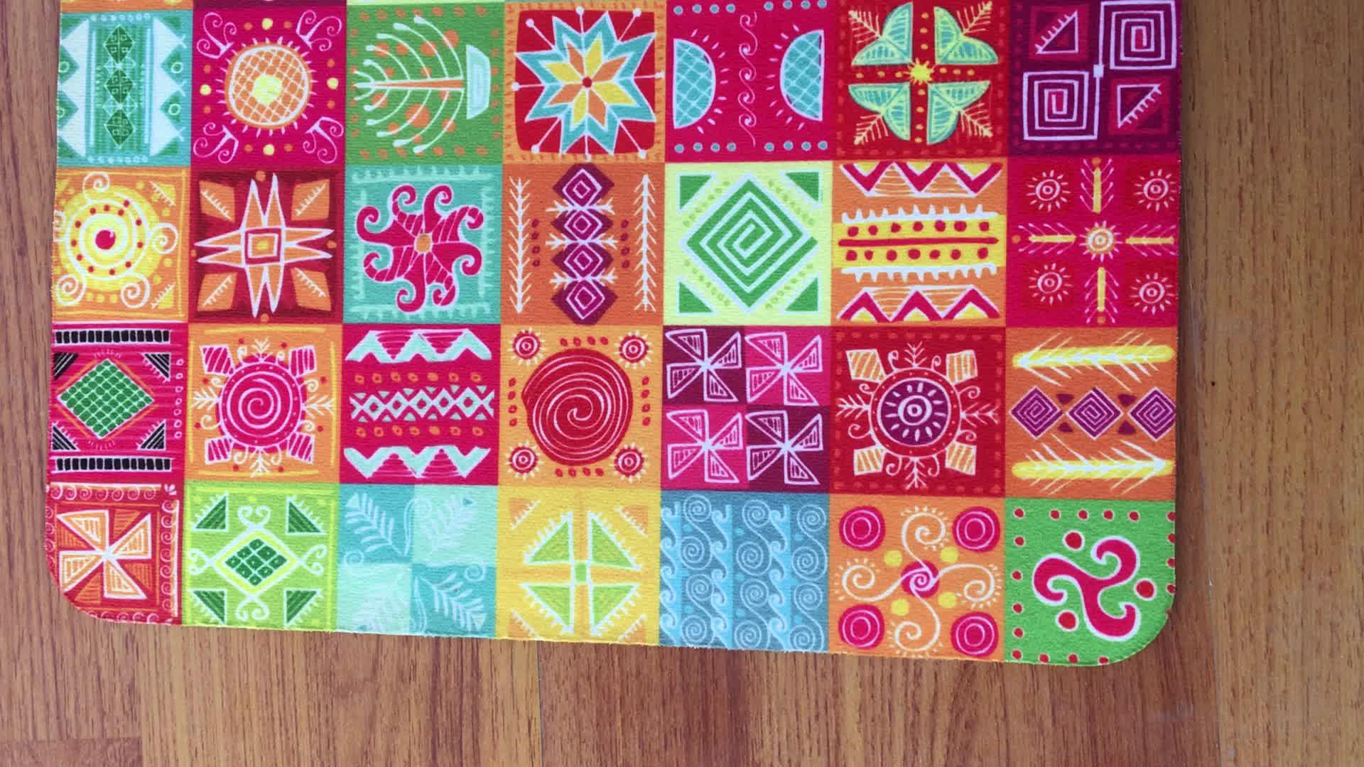 Poderoso Anti Slip textura de patrón geométrico absorbente Felpudo de impresión personalizada
