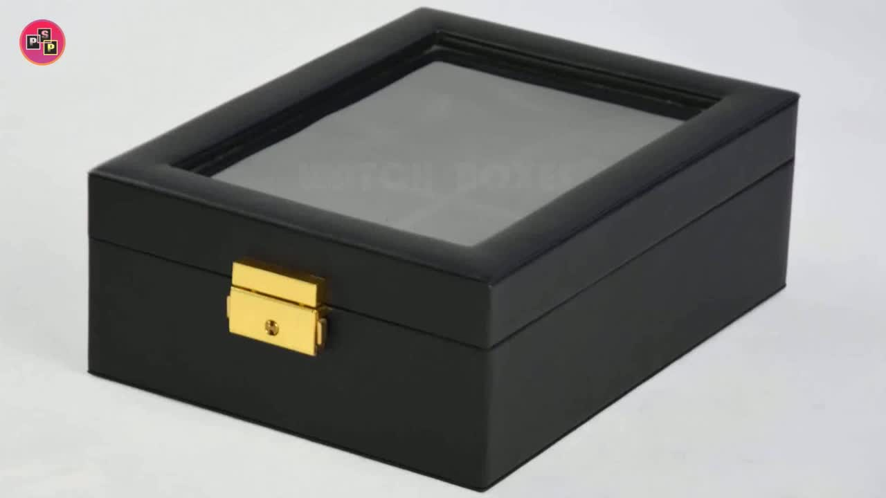 Custom Luxury Leather Black Wrist Watch Box Case