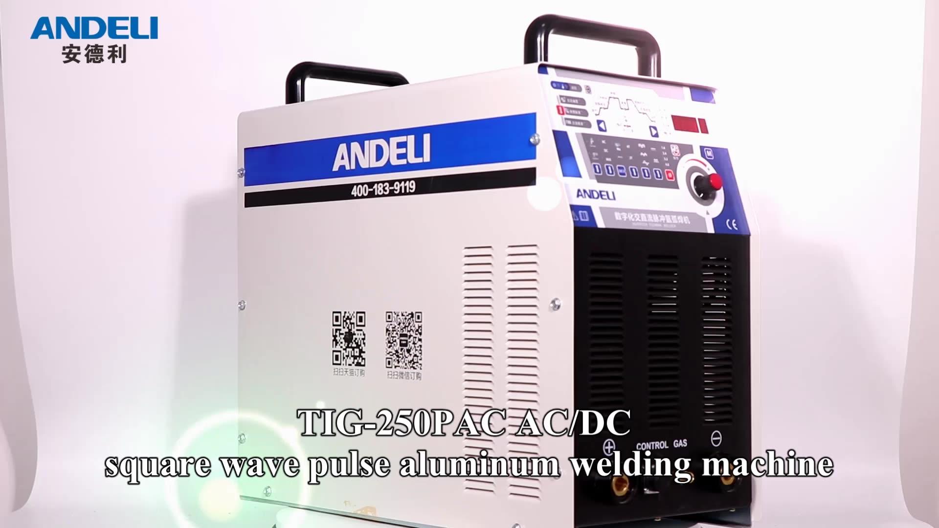 ANDELI invertör ac dc dijital kare dalga darbe tig TIG-250PAC tig alüminyum alüminyum alaşımlı tig kaynakçı
