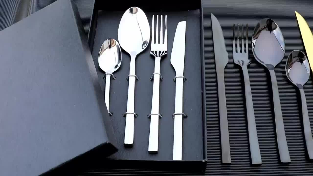 Mirror polish silverware flatware restaurant hotel spoon knife fork sets with gift box