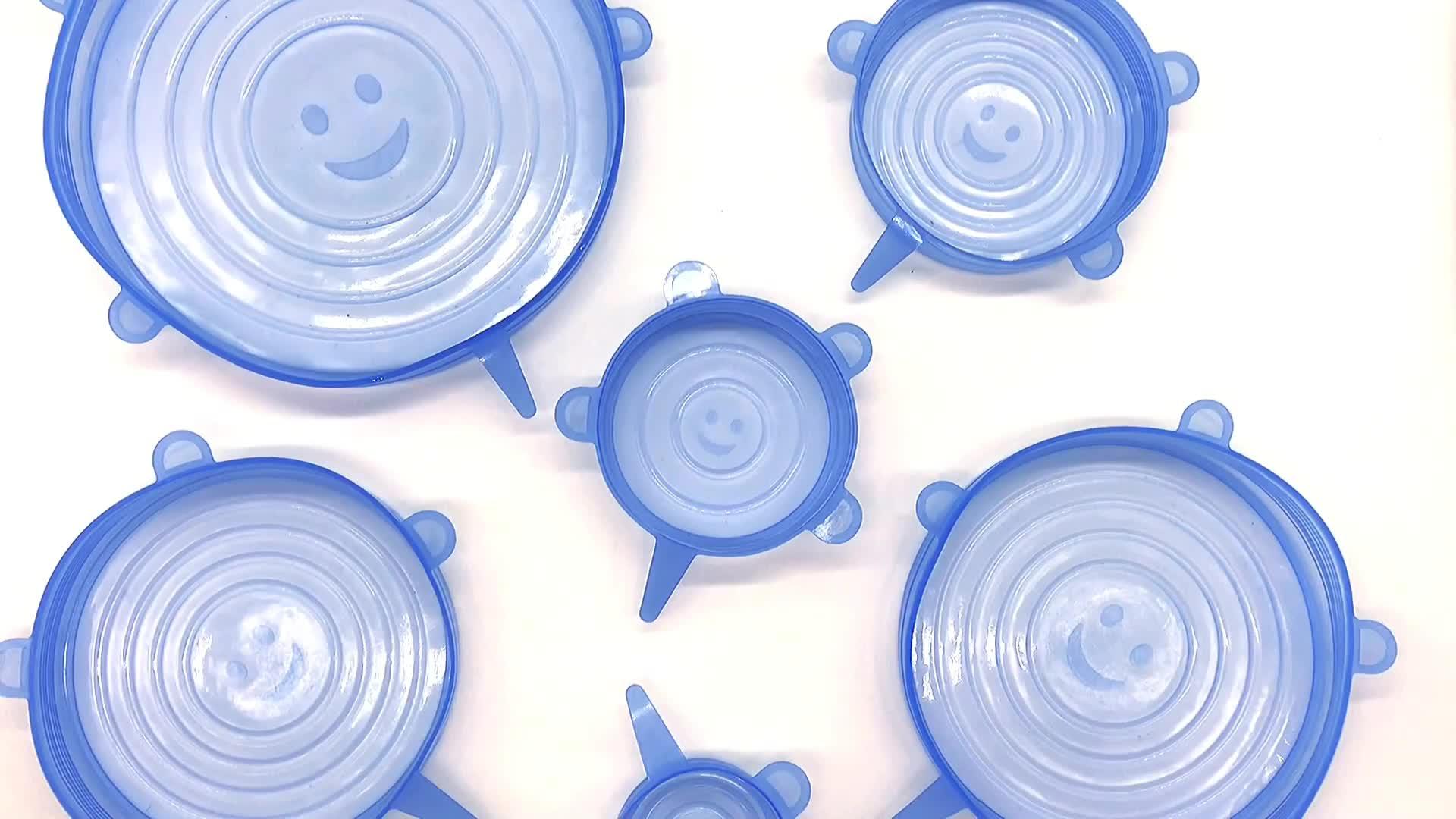 Gıda sınıfı 6.5 cm, 9.5 cm, 11.5 cm, 14.5 cm, 16.5 cm, 20.5 cm yeniden kullanılabilir 6 paket adet silikon streç kapaklar