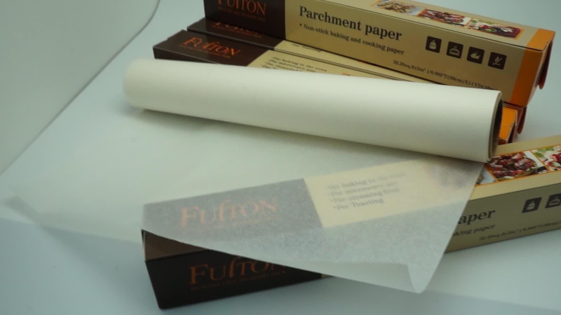 Yapışmaz pişirme kağıdı % 100% saf odun hamuru Fulton ekmek pişirme parşömen kağıdı Jumbo rulo