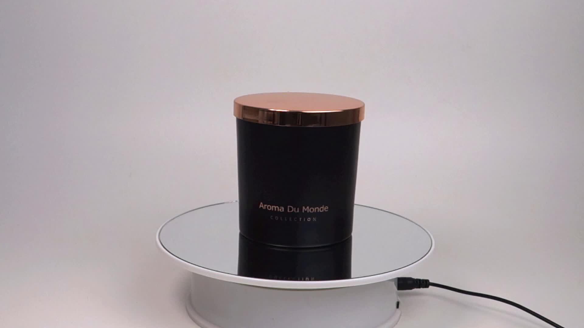 แก้วหรูสีดำเทียนโลหะ Rose Gold ฝาปิด