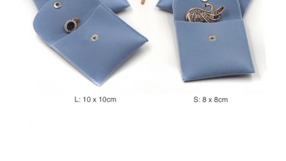 4 Colors Flap Envelope Pouch Jewelry Gift Bag Travel Velvet Jewelry Pouch With Snap Button