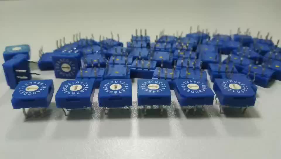 10 Way 3 + 3 Pins 5.08mm Right Angle Type Flat Rotor Single Pole 10 Position Rotary Dip Switch
