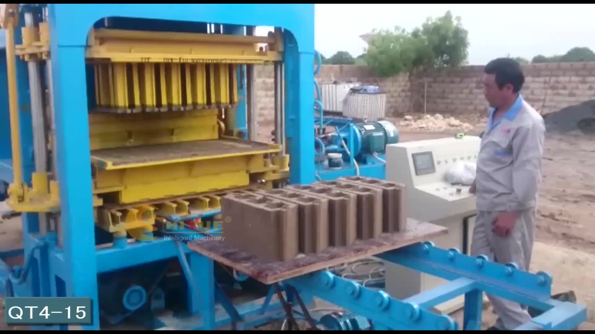 QT4-15 cement block moulding plant simple brick making machine
