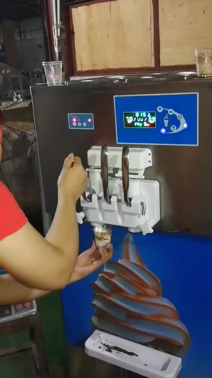 Pump Feed High Overrun Commercial 3 Flavor Frozen Yogurt Soft Serve Ice Cream Machine with Rainbow Syrup System